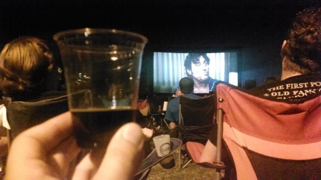 Watching Hot Rod while sipping on 512 Whiskey Barrel Aged Double Pecan Porter
