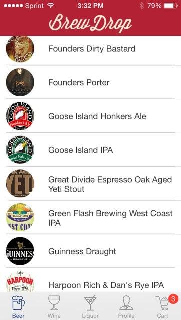 BrewDrop Screenshot Showing Craft Beers Beer Delivery in Austin