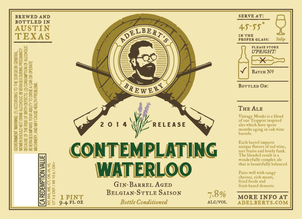 Adelbert's Contemplating Waterloo Gin Barrel Aged Austin Texas