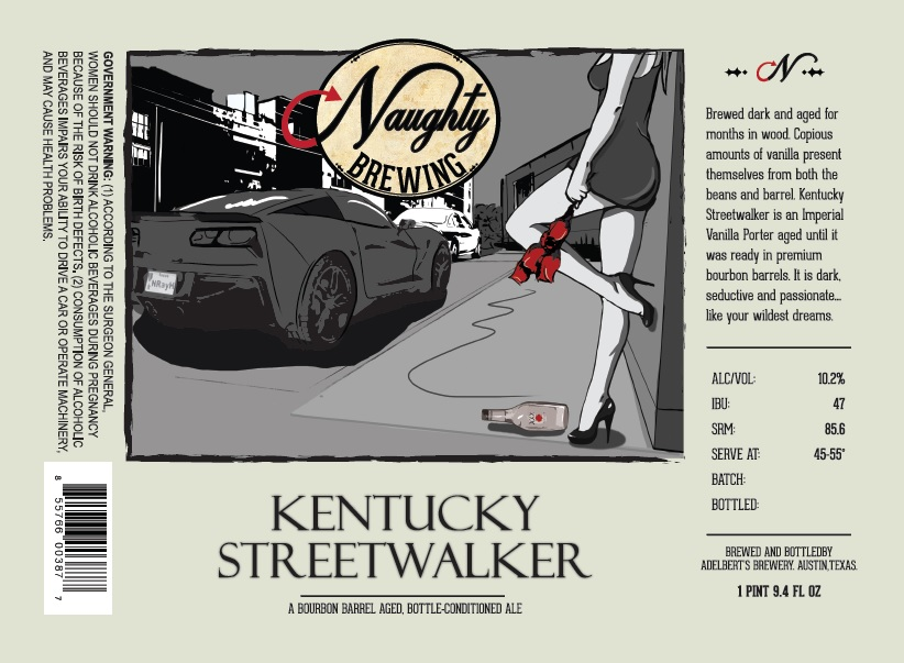Picture of Naughty Brewing Kentucky Streetwalker Bourbon Aged Imperial Porter Label