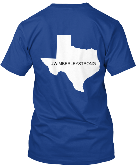 Picture of the back of wimberley strong tshirt