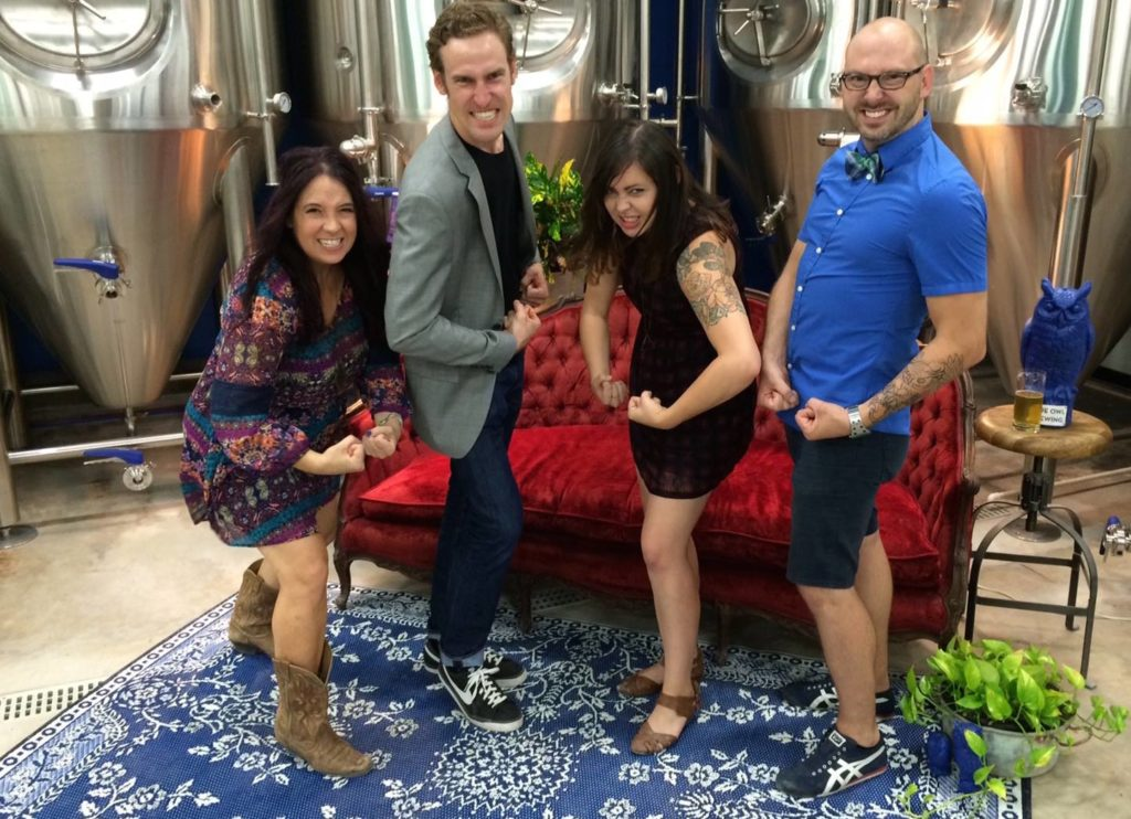 Picture Suzy Shaffer, Davy Pasternak, Jessica Deahl, and Jeff Young. Suzy & Jeff are owners of The First Production Sour Mash Brewery: Blue Owl Brewing