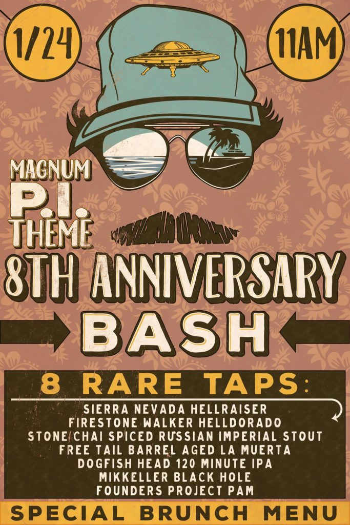 Flyer for Flyin Saucer Austin 8th Anniversary Party