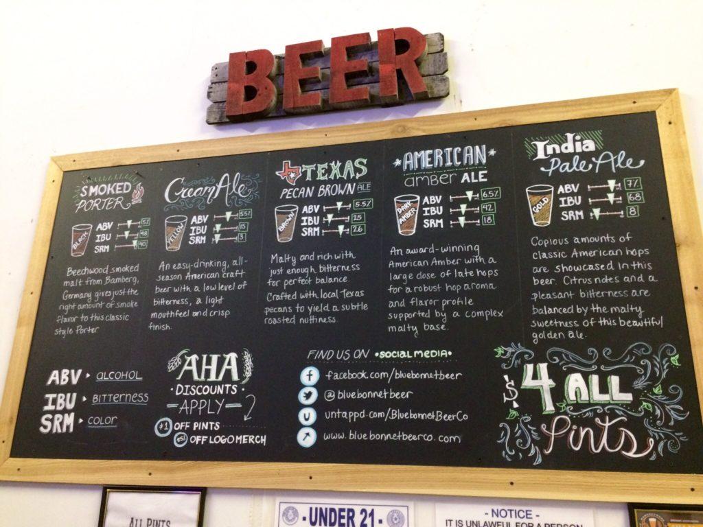 Bluebonnet Beer Board