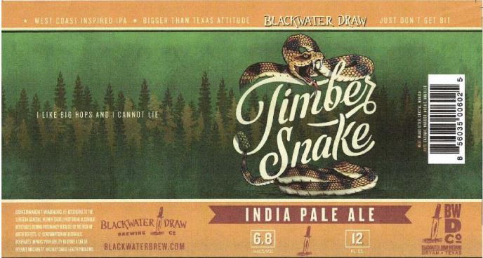 blackwater draw timber snake ipa TABC Label and Brewery Approvals February 26 2016
