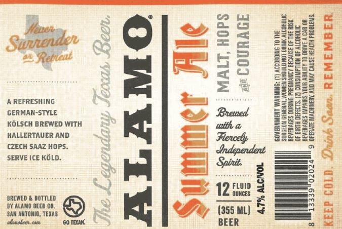 alamo summer TABC Label and Brewery Approvals July 8 2016