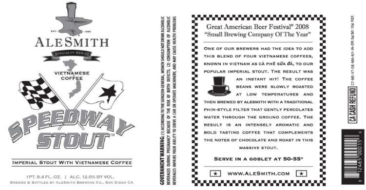 alesmith vietnamese coffee TABC Label and Brewery Approvals July 15 2016
