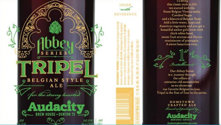 audacity tripel TABC Label and Brewery Approvals July 1 2016