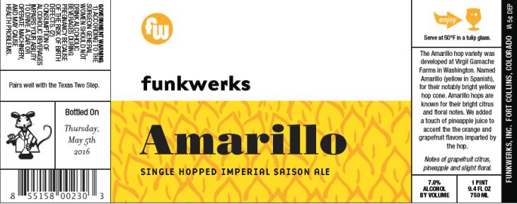 funkwerks amarillo TABC Label and Brewery Approvals July 1 2016