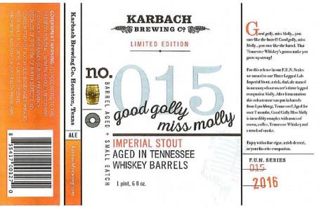 karbach good golly miss molly TABC Label and Brewery Approvals July 1 2016