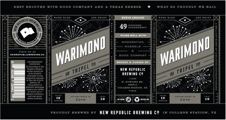 new republic warimono TABC Label and Brewery Approvals July 1 2016