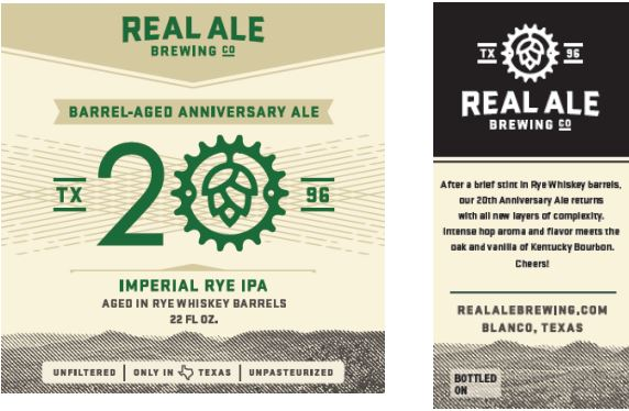 real ale ba 20th anniversary TABC Label and Brewery Approvals July 1 2016