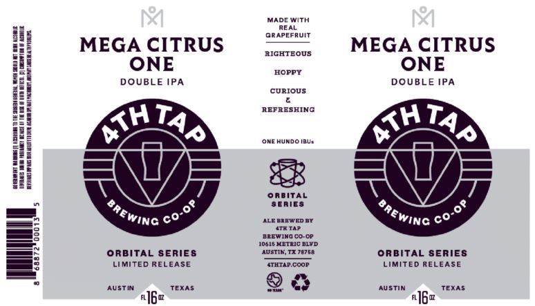 4th-tap-mega-citrus-one TABC Label and Brewery Approvals Nov 11th 2016