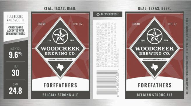 woodcreek-forefathers TABC Label and Brewery Approvals Dec 9th 2016