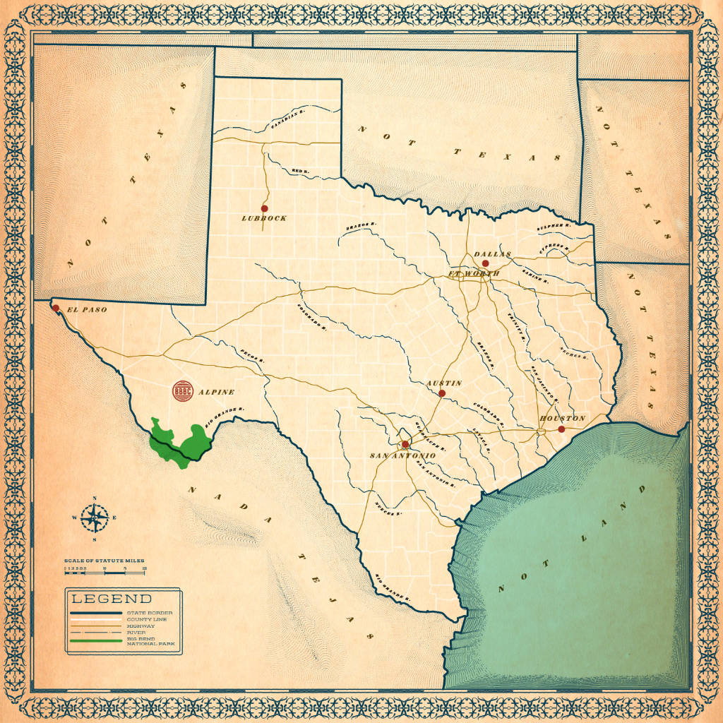 Map of Big Bend Brewing Texas Cities Distributed to