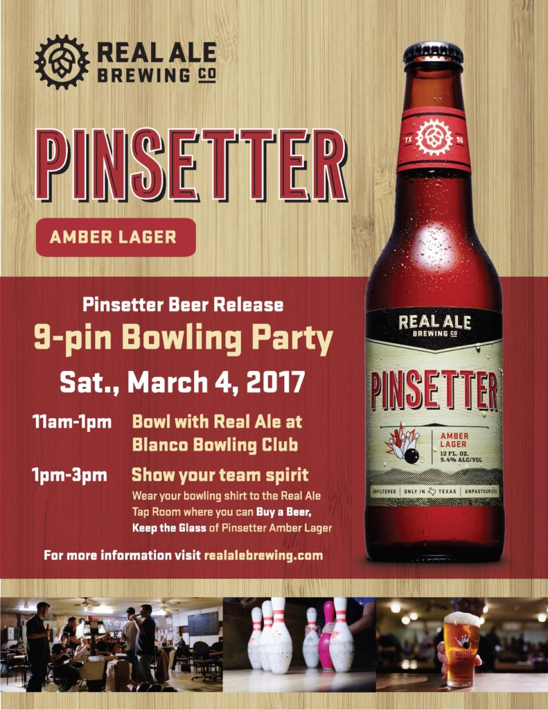 Pinsetter Party Flyer Austin Craft Beer Events Feb 27 - Mar 5 2017