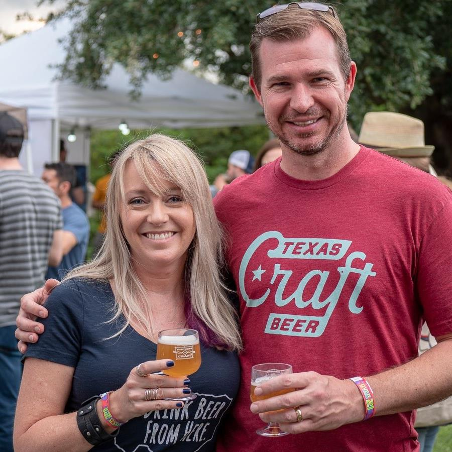 Pam and David at the 2018 Texas Craft Brewers Festival - Photo by Jason Youngblood