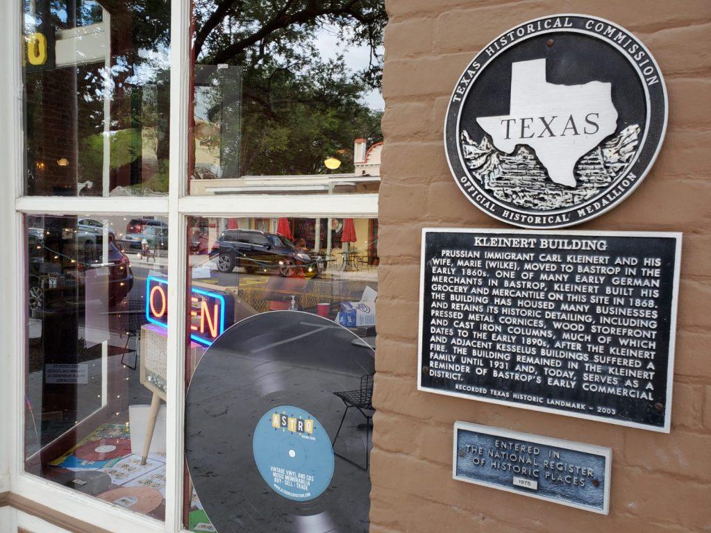 Astro Records in the historic Kleinert Building, Bastrop TX