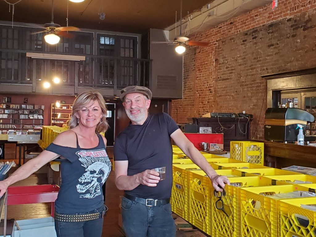 Astro Records owner Kevin Mawby & 602 Brewing bartender Kymberly Lind drinking the 'Lippy'