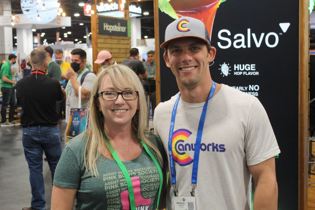 Marshall Thompson of Canworks Printing with Pam Catoe